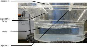 Interaction behavior between injectors and liquid bath into EOF.