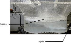 Interaction behavior between tuyeres and liquid bath into EOF.