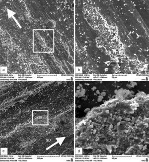 SEM micrographs of worn surfaces of (a) base alloy at applied loads of 51N, (b) enlarged view of the marked region (A) in the micrograph (a), (c) 1.2FeMn alloy at applied loads of 74N, (d) enlarged view of the marked region (B) in the micrograph (c) (*SD is sliding direction).