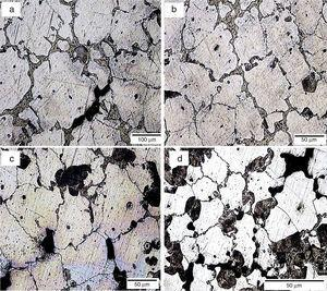 Optical microstructure of the AZ 81 alloys showing the grain refinement with increasing carbon addition, (a) alloy without grain refiner, (b) alloy refined with synthetic graphite (C: 0.03%), (c) alloy refined with activated charcoal (C: 0.04%), and (d) alloy refined with activated charcoal (C: 0.98%).