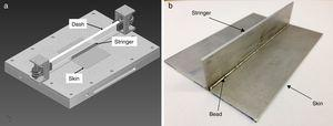 Schematic of the special tool used in the welding of the T-joint (a) and an image of a T-joint sample (b).