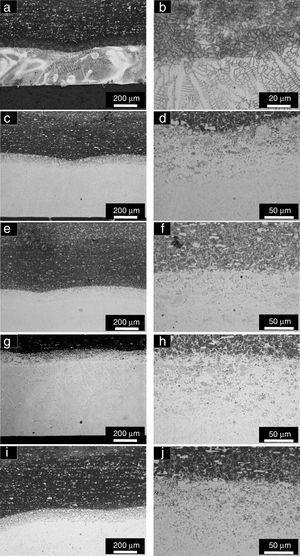 Optical micrographs of the samples (a) P1, (c) P2, (e) P3, (g) P4 and (i) P5 with lower magnification (it is shown in each figure – from the top to the bottom – the substrate, the HAZ and the alloyed layer)&#59; (b) P1, (d) P2, (f) P3, (h) P4, (j) P5 with higher magnification.