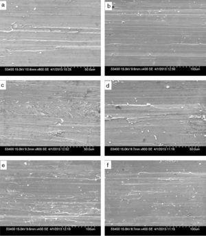 Morphology of worn surfaces of burnished Ti–6Al–4V alloy sliding under different conditions. (a) At v=30m/min, f=0.05mm/rev, F=200N, n=3. (b) At v=30m/min, f=0.10mm/rev, F=250N, n=1. (c) At v=45m/min, f=0.10mm/rev, F=150N, n=3. (d) At v=15m/min, f=0.10mm/rev, F=200N, n=2. (e) At v=15m/min, f=0.15mm/rev, F=250N, n=3. (f) At v=15m/min, f=0.05mm/rev, F=150N, n=1.