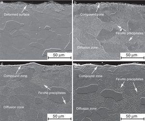 SEM cross-sectional views of the evolution of the nitride zones as a function of the temperature:(a) not treated sample, (b) treated at 450°C, (c) treated at 475°C, and (d) treated at 500°C.
