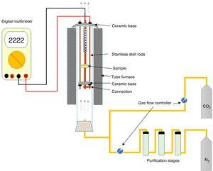 Schematic diagram of the electrical conductivity cell.
