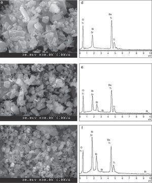 FESEM images of the (a) BST, (b) BSTB2 and (c) BSTB4 nanopowders calcined at 850°C for 2h. EDS analysis of (d) BST, (e) BSTB2 and (f) BSTB4 samples.