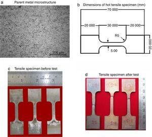 Optical microstructure and tensile specimen details.