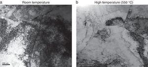 Transmission electron micrograph of Super 304HCu tensile specimens.