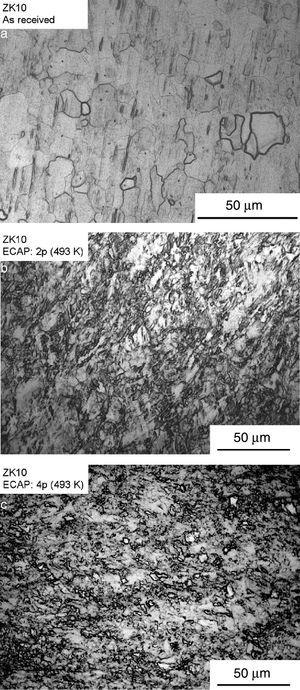 Grain structure along the cross-sections of the billets of the ZK10 alloy (a) in the as-received condition and after processing by (b) 2 and (c) 4 passes of ECAP.