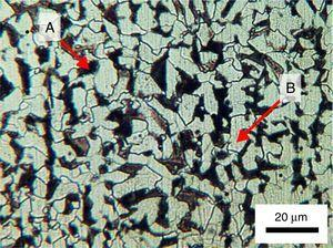 Microscopy optical micrographs of the innermost guide ruler cross section. DIN St 52 steel inhibiting grains of proeutectoid ferrite (B) and perlite colonies (A).