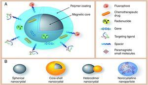 The multifunctional core–shell nanoparticles (a). Different types of magnetic core (b) [187].