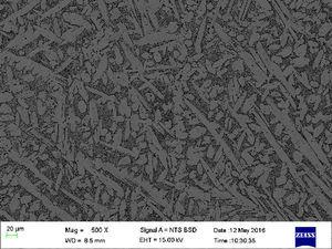 Back scattered electron images of the unmodified Cu–Zn–Al alloy.