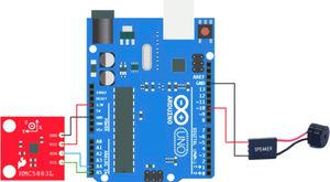 Connection of magnetic field measurement with an Arduino and A Hmc5883l.