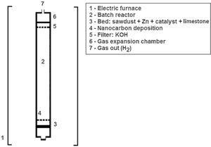 Scheme of the tubular reactor designed for nanocarbon synthesis.
