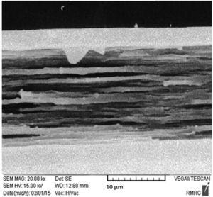 SEM result of the fracture surfaces of biaxial oriented PP/PVA 30%.