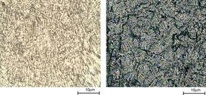 MO micrographs of ASTM F75 alloy: (a) before and (b) after corrosion test.