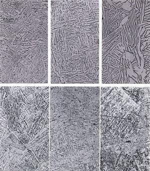 Optical micrograph sequences showing microstructure variations for different thermal processing conditions for EBM-fabricated Ti-6Al-4V products. (a) to (c) show α-phase acicular grains increasing in thickness for 1 (3μm), 2 (4.5μm) and 3 (6μm) melt passes respectively for cm thick specimens. (d)–(f) show decreasing α-phase thickness for mm thick specimens for (d) (top) and (e) (bottom); and 1 pass in (f) creating <2μm spaced α??-phase platelets as a consequence of rapid cooling in a foam ligament thin section.