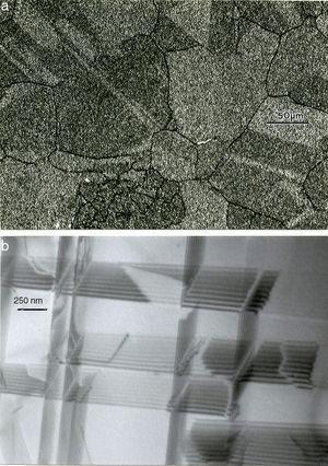 Microstructure features for HIPed, EBM-fabricated Co-Cr alloy in Fig. 5. (a) Optical micrograph showing equiaxed grain structure. (b) TEM image showing stacking faults within the fcc grain structure in (a).