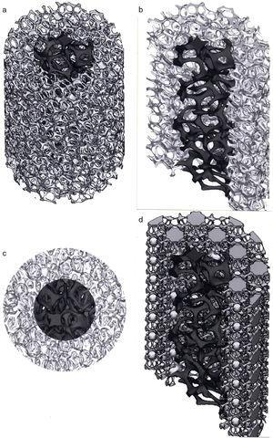 Examples of complex, open cellular structure models which have been fabricated in various metals and alloys by SLM and EBM. (a) Porosity variances in cylindrical foam structures. (b) Cross-section view of (a). (c) Top view of (a). (d) Foam structure core surrounded by complex mesh-type cell structure.