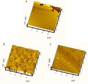 AFM three-dimensional images of CRS surface: (a) before immersion; (b) after 6h of immersion at 20°C in 0.1M Cl3CCOOH; and (c) after 6h of immersion at 20°C in 200mgl−1 DBLE+0.1M Cl3CCOOH.