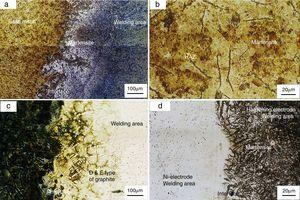 Microstructure of different welded specimens, (a and b) C7018, (c) CNi and (d) CNiHF.