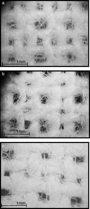 Stereographic pictures taken from textiles: (a) without coating, (b) coated with N-TiO2 (water/TTIP: 200), (c) coated with N-TiO2 (water/TTIP: 4).