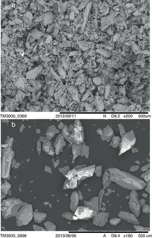 SEM images of natural gypsum: (a) agglomerated particles, (b) particles dispersed in 1% alcohol.