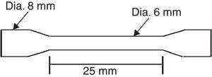 Standard tensile test specimen dimensions.