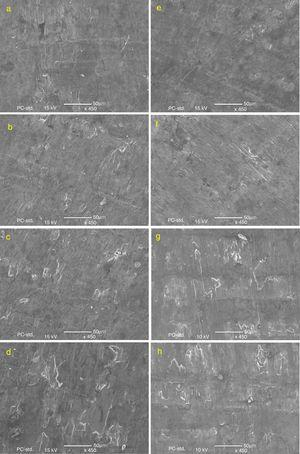 The fractured surface morphology of the (a–d) vacuum sintered and (e–h) microwave sintered Al–Cu composites.