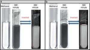 Cryomilled Al powder disperses in ultra high pure methanol (time of milling mentioned over test tube): (a) just after preparation Al NPs and (b) after 10 days of dispersion.