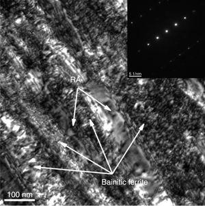TEM microstructure of specimen subjected to bainite transformation at 300°C for 2h.