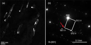 TEM microstructure highlighting the cementite precipitation during bainite transformation at 400°C for 5h, where (a) is the dark-field image and (b) is the corresponding SAD pattern (taken from the [0−21]θ refection indicated by the arrow).