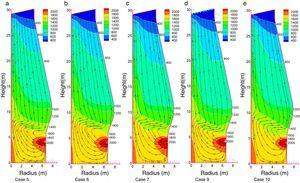 Calculated gas flow pattern and temperature distribution for a raceway vertical plane for mix injection and PC: 250kgthm−1.