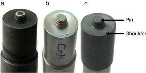 Tools of FSWed of MMC plates: (a) Uncoated tool, (b) CrN coated tool, (c) AlTiN coated tool.