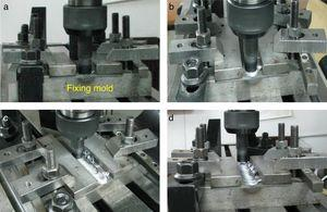 Stages of FSW Process: (a) rotating tool prior to penetration into the butt joint; (b) tool shoulder makes contact with the part, creating heat; (c) restricting further penetration while expanding the hot zone and moving parts under the tool, creating a friction stir weld nugget; (d) retraction of the tool from the joining zone.