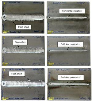 Appearances of top and bottom view after FSW: (a) Uncoated tool, (b) CrN coated tool, (c) AlTiN coated tool.