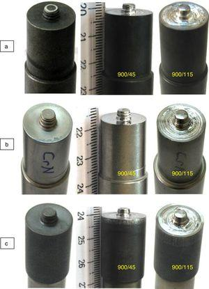 Macrographic views of: (a) uncoated tool, (b) CrN coated tool, (c) AlTiN coated tool before and after welding process.