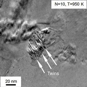 TEM images showing twin faults (indicated by white arrows) after annealing at 950K of the sample processed by HPT for N=10 turns.