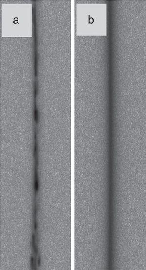 Debye–Scherrer rings for reflection 220 obtained for the HPT-processed (a) low-Mo and (b) high-Mo alloys after annealing at ∼850K.