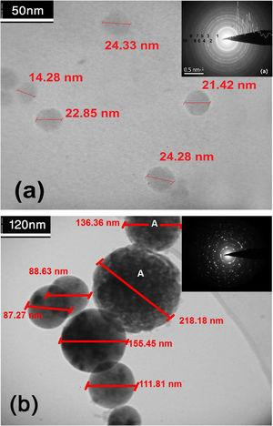 TEM images and SAED patterns of TiO2 nanoparticles synthesized at: (a) 800°C and (b) 700°C.