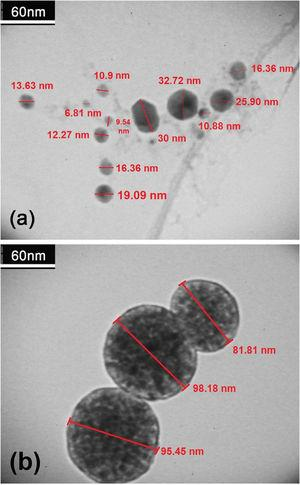 TEM images of TiO2 nanoparticles formed due to simultaneous oxidation and hydrolysis reactions synthesized at (a) 400°C and (b) 700°C.