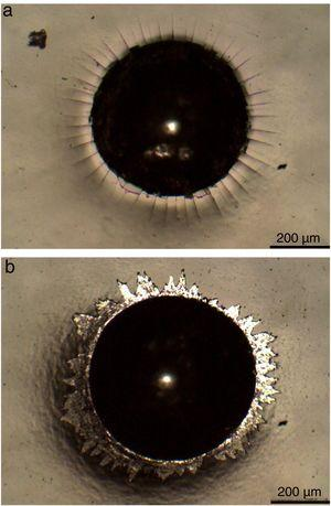 Optical micrograph of indentation Rockwell C with 150kg load (a) duplex sample and (b) coated sample.