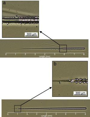 Optical micrograph of scratch test with variable load, (a) duplex sample and (b) coated sample.