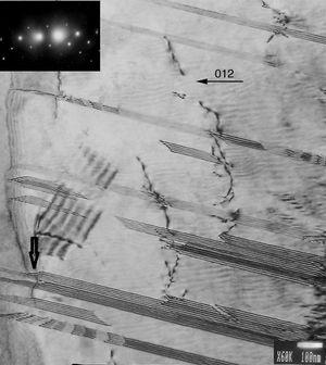 TEM image (bright field) of dislocations surface zone on sample with 20 Nb at.% in annealing condition, with the corresponding diffraction pattern.