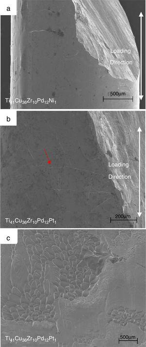 The fracture surfaces of (a) the Ti41Cu36Zr10Pd12Ni1 metallic glass and (b) the Ti41Cu36Zr10Pd12Pt1 metallic glass, along with (c) the high magnification view of the shearing surface in (b) showing typical vein patterns and melting balls.