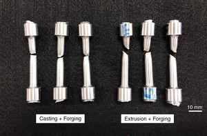 Tensile test rods after tensile test.