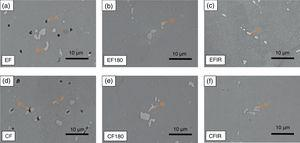 SEM observation results of various heat-treated specimens, the intermetallic compounds of EF and CF could be reduced after air/IR heating treatment.