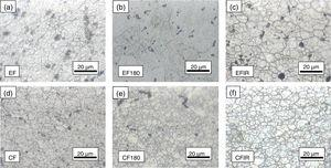 Magnified views and the grain size of metallographic images in Fig. 6: (a) EF (d¯=6.3±2.2μm)&#59; (b) EF180 (small grain d¯=8.1±3.26μm, large grain d¯=55.2±6.2μm)&#59; (c) EFIR (d¯=6.8±2.7μm)&#59; (d) CF (d¯=5.8±1.3μm)&#59; (e) CF180 (d¯=7.4±2.6μm)&#59; (f) CFIR (d¯=6.3±2.0μm).
