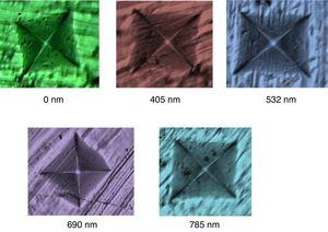 Impression of the Vickers indentation on as-prepared and laser-exposed samples of glassy Se76Te20Sn2Cd2 alloy.