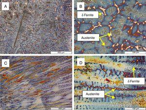 Optical micrographs of AISI 304 Base etched with L-B at inner part at (a) lower and (b) higher magnification and outer part at (c) lower and (d) higher magnification.